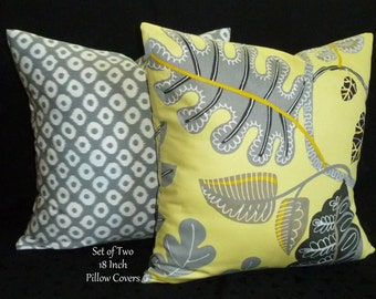 Decorative Throw Pillows / Pillow Covers / Accent Pillows - Set of Two 18 Inch in Yellow, Grey and Black