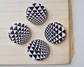 Geometric Buttons - Black and White Wood Set of 4 - Lot 517