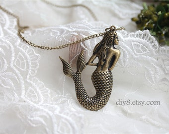 Pretty retro copper mermaid fish necklace pendant vintage style     N06-05