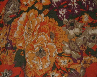 Cool Fashion Vintage Wardrobe 70's Lovely Versatile Jacket Blouse Bright Orange Floral Lined Like New Cool Fall Colors Fits Most Any Style
