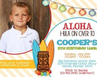 ALOHA LUAU 5x7 Photo Birthday Party Invitation - Boy Printable