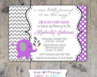 ELEPHANT BABY SHOWER Purple & Gray Chevron 5x7 Invitation - Printable