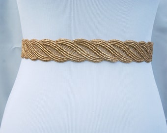 Gold wedding sash, bridal sash, gold wedding belt, bridesmaid belt, bridesmaid sash