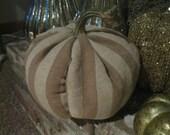 Thanksgiving Fabric Fall pumpkin, Natural striped fabric, Rustic decor