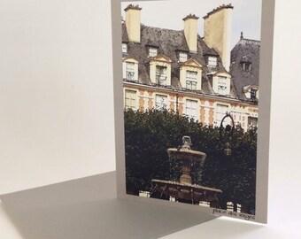 PARIS NOTE CARD, Place des Vosges, Scenic Paris card, note cards of Paris, French cards, Paris watercolor, French photo card