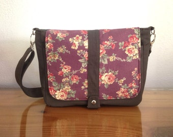 Stock SALE - Dark Taupe Canvas Messenger Bag with Purple Floral Flap, Day bag, School bag, Shoulder bag, Handbag, Travel, Everyday - Kiyomi