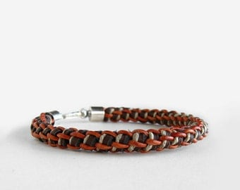 Mens Woven Orange Leather and Hemp Leather Bracelet, Sterling Silver Hook Clasp