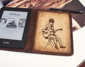Kindle Leather Cover - Vintage Guitarist - Customizable - Free Personalization