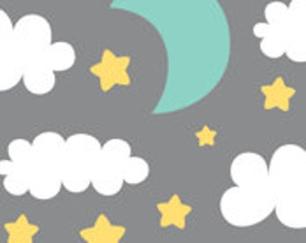 Moon and Stars Fitted Crib Sheet