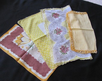 Lot of 4 Assorted Colorful Vintage Cotton Hankies Yellow