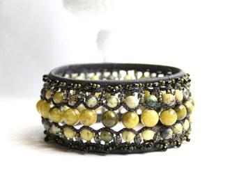 Yellow Turquoise Charcoal Bangle Beaded Bracelet Tatting Lace