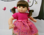 Party dress pink floral print organza and satin for Bitty Twin girl and other 15 inch dolls handmade in USA