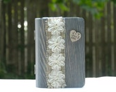 wedding ring box, ring pillow, engagement ring box, burlap lace shabby chic flower Personalized Engraved Woodburned