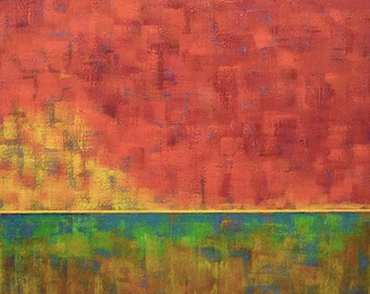 Red Orange Sky Acrylic Painting...Large Abstract Landscape Art...30 x 30 Ready to Hang
