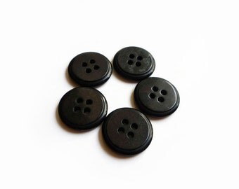 5 Black Vintage Buttons