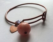 Recycled lucite bead vintage handmade copper bangle