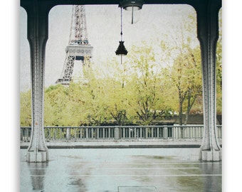 Paris Photography, Paris in autumn wall art, Paris Wall Decor, chartreuse home decor, Eiffel Tower decor, Paris bridge - Fine Art Photograph