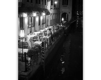 Venice Photography, Black and White Cafe Photography, Italian Cafe, Film Noir, Home Decor Prints, Venice Decor -  Fine Art Photograph B&W