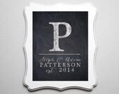 Personalized Wedding Print Monogram on chalkboard - Lovely Wedding Gift or Anniversary Gift