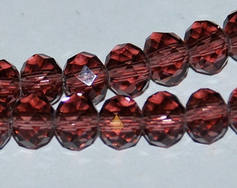 20 pcs 6x4mm Transparent Plum Amethyst Wine Rondelle Glass Beads
