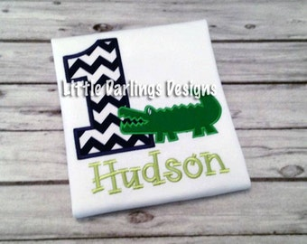 Fun Boys Alligator Themed Birthday Shirt