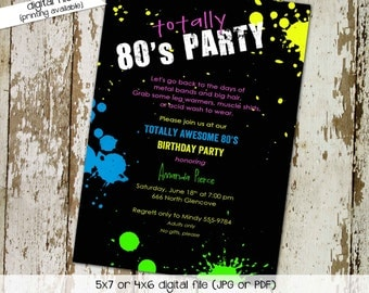 80s party invitation Stock the bar couples shower Totally 80's party birthday invitation Birthday invitations 80s theme | 214 Katiedid Cards