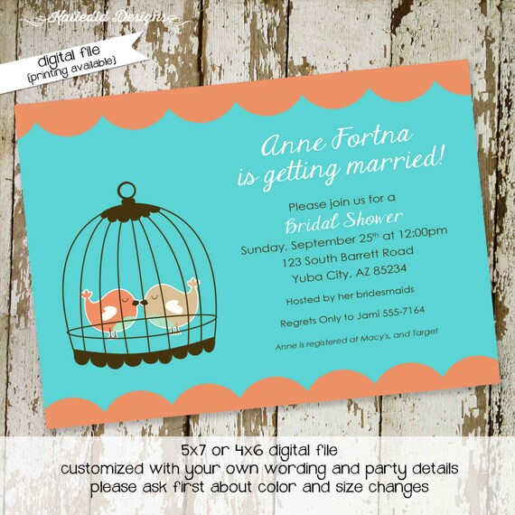 love birds bridal shower Couples Bridal Invitation engagement party bachelorette rehearsal dinner stock the bar after 312 Katiedid designs