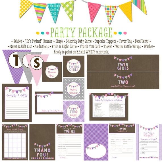 TWIN GIRLS bunting pink purple item 1518 package AS Is Matching games ticket banner bingo thank you card water bottle wraps, cupcake toppers