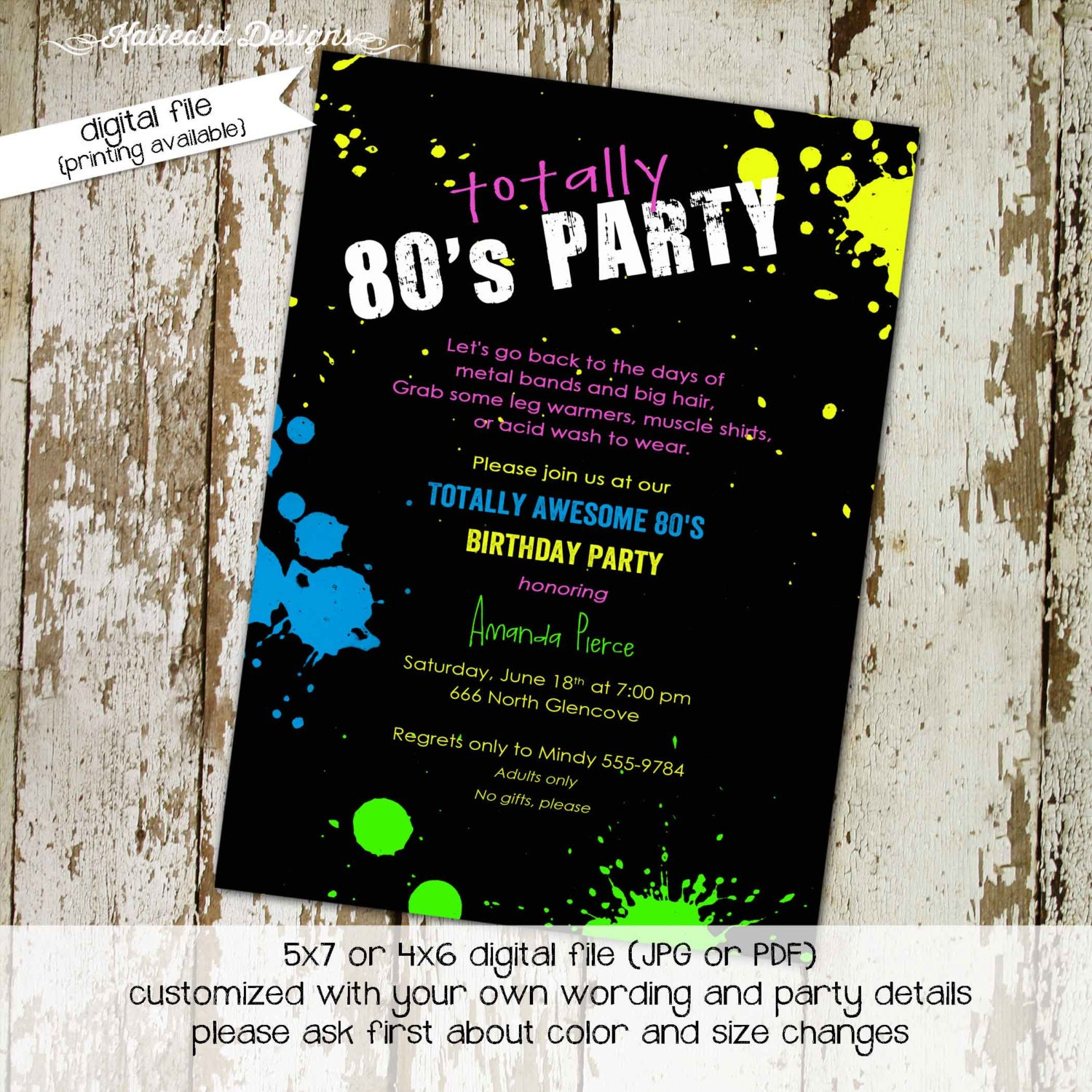 80s birthday invitation Totally awesome 80s party retro – 80s Party Invitation Wording