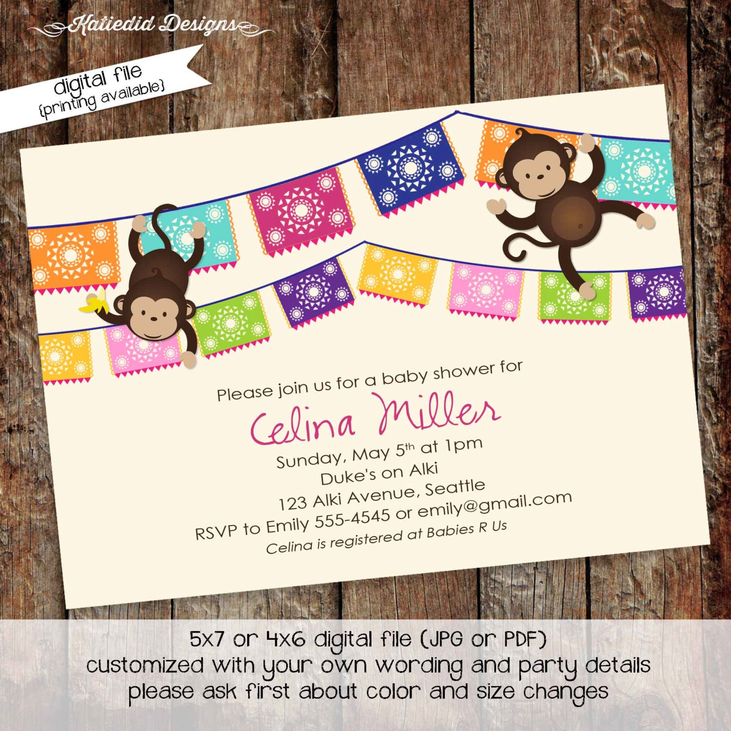 Jungle Monkey Safari Invitation Fiesta Baby Shower Invi On Fiesta ...