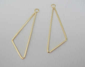 Gold Simple Triangular  Long Connector, Pendants, Charms, Earring Findings, 2 pc S519375