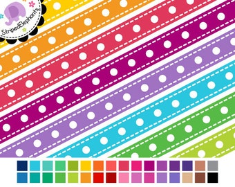 Digital Ribbons - Dash Dot Digital Ribbon Clipart - Instant Download - Commercial Use