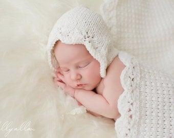 The Gracie Bonnet PATTERN, for Newborn Prop, Bonnets, Knit Hats, Baby Girl Photography Prop, Classic Knits, Summer Prop, Lacy Bonnet, White