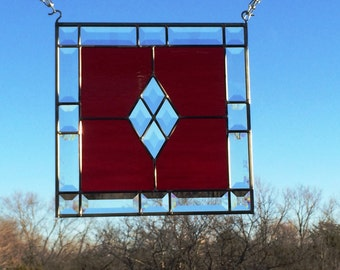 Leaded Stained Glass Beveled Panel