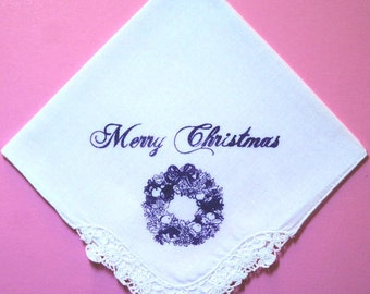 60% DISCOUNT:-Ladies Merry Christmas Royal Purple Christmas Wreath ScreenPrinted Handkerchief + Crochet Corner & Handrolled Hem