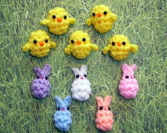 10 Bunny and Chick EasterBeans - Plush Easter Egg Fillers - Assortment of 10, Easter Basket Miniature Gifts, Assorted Colors