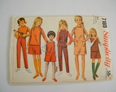 Vintage 1960s Girls Wardrobe Pattern / Dress, Blouse, Jumper, Top, Skirt, Pants / Size 14