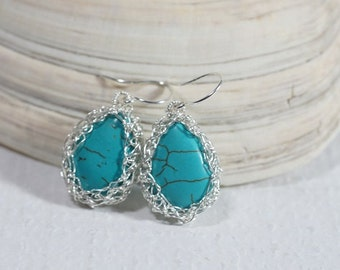 Turquoise Earrings Wire Crochet Earrings Gemstone Earrings