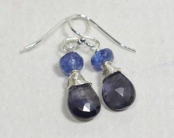 Multi Stone Iolite Tanzanita Earrings Sterling silver wire wrap