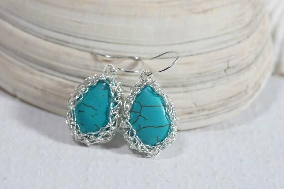 Turquoise Earrings Wire Crochet Earrings Gemstone Earrings