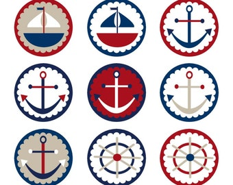 Nautical Sailing Digital Collage Sheet Sailboat Anchor Wheel One inch Bottle Caps Digital Clipart Red White Blue Navy Tan JPG PDF Printable