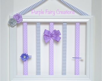 Accessories Organizer Picture Frame - White, Lavender, Lattice Chevron Gray, Polka Dots, Hooks (Hair Bow & Headband Holder) Baby, Girl, Teen