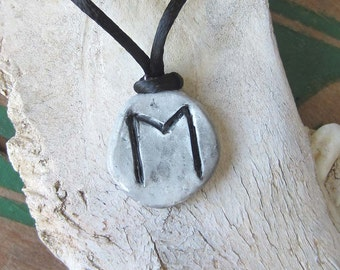 rune necklace EHWAZ runes pendant elder futhark hand made one of a kind wicca wiccan jewelry pagan larp magic amulet viking runes