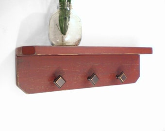 Primitive wall shelf with hooks or knob, Aged, Shabby Chic, Rustic Handmade Wood Shelf, bronze knobs, Shelf, Distressed Wall Hanging