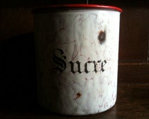 Antique French Sucre Sugar Pot Red and White Enamel circa 1910's / English Shop