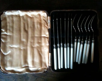 Vintage English Boxed Forks and Knives Set of Six Places circa 1950's / English Shop