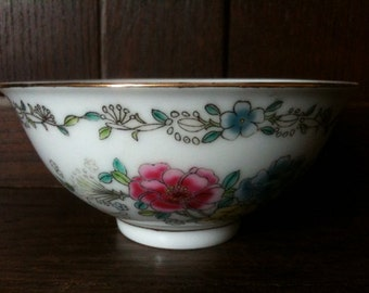 Vintage Chinese Flower Soup Rice Noodle Bowl circa 1950's / English Shop