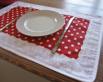 Placemat red white polka dot Duck Linen white eyelet trimmed- Christmas table decor, tablecloth decor - shabby chic home decor  entartaining