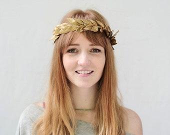 Gold Leaf Crown, Gold Leaf Headband, Laurel Wreath, Gold Crown, Bridal Headpiece, Gold Laurel Headpiece, Laurel, Leaf Circlet, Toga, Costume