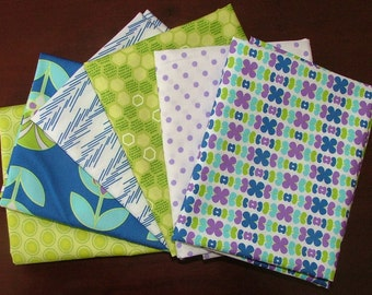 Fat Quarter Bundle of Color Me Retro in Blue & Other Coordinating Prints by Jeni Baker for Art Gallery Fabrics